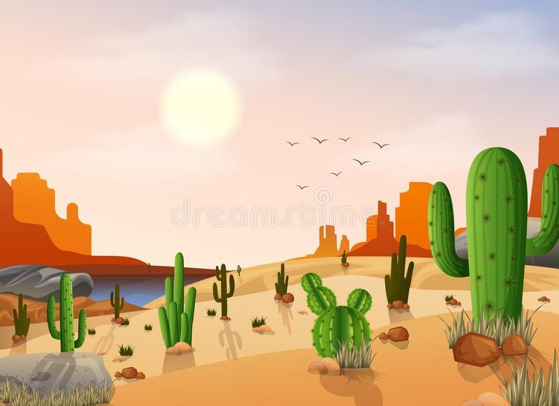 Desert Background Stock Illustrations.