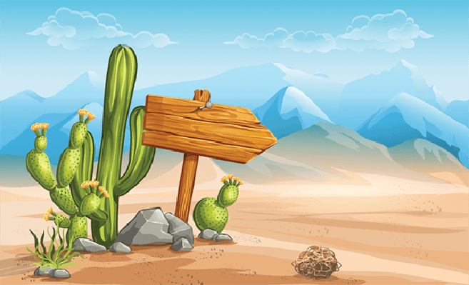 Wooden Sign in the Desert Mountains in the Background.