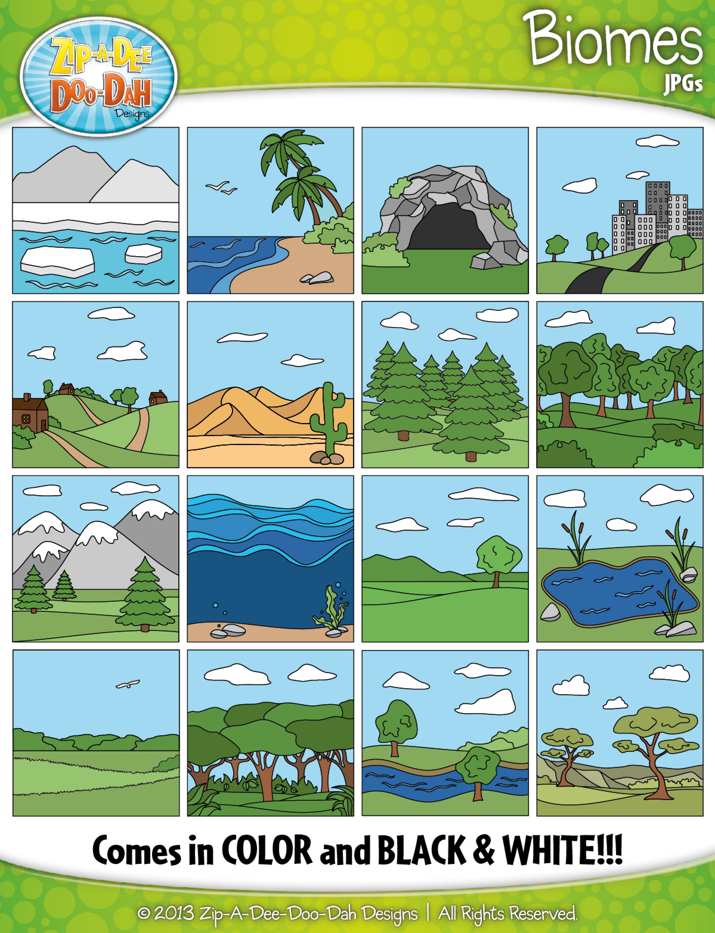 Biomes / Ecosystems Clip Art Set — Over 30 Graphics.