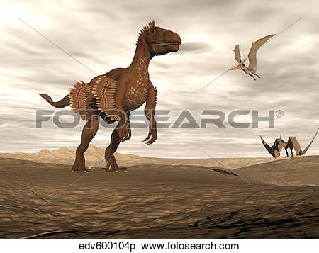 Stock Illustration of Velociraptor dinosaur in desert landscape.