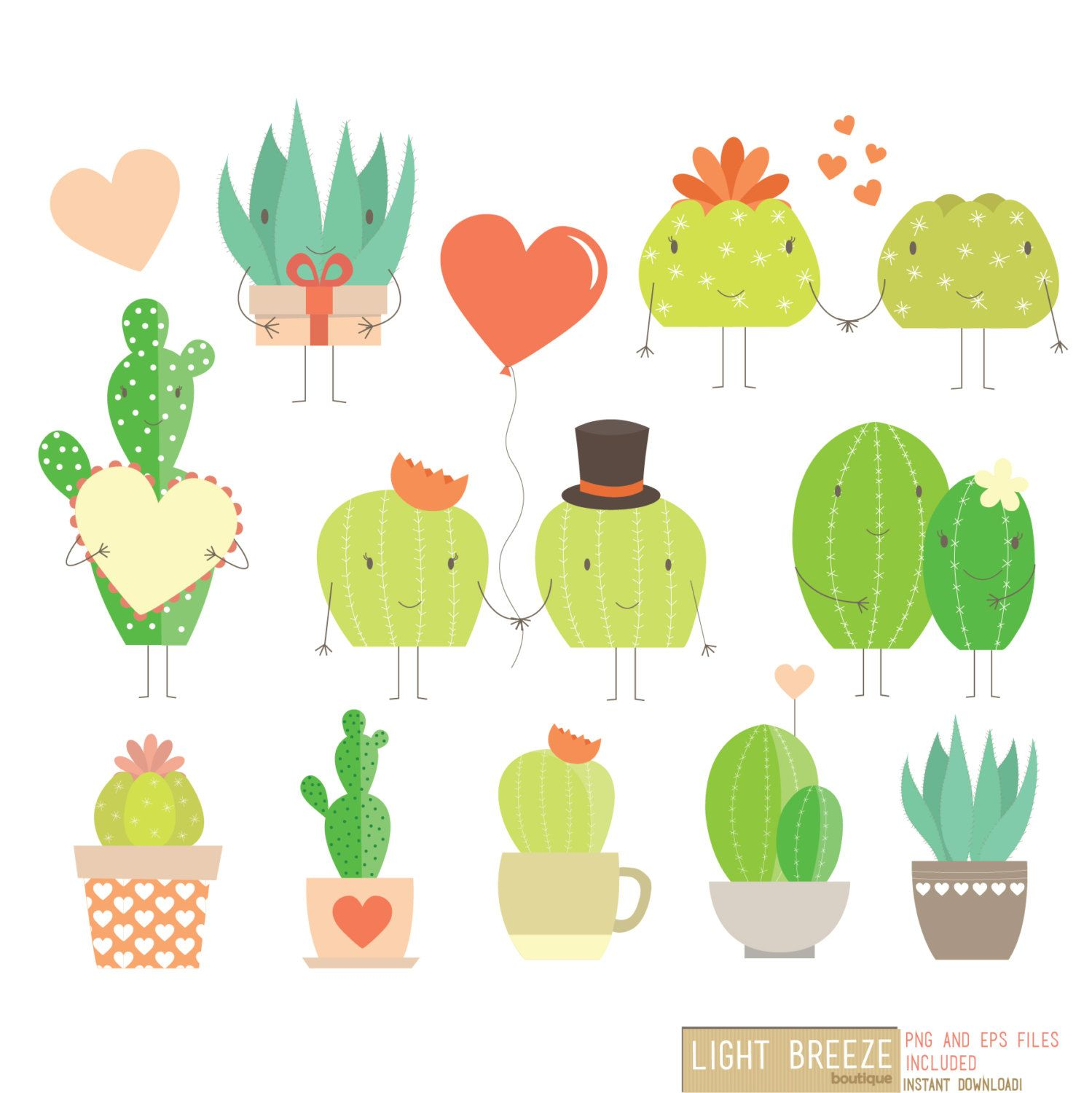 Valentine\'s Day Love Cactus Digital Clipart & Vector Set.
