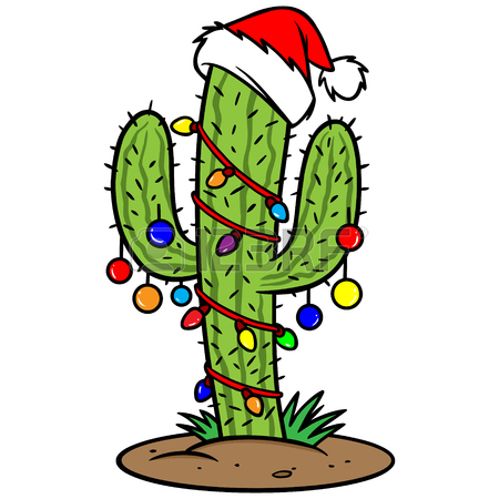 Cactus With Christmas Lights Clipart.