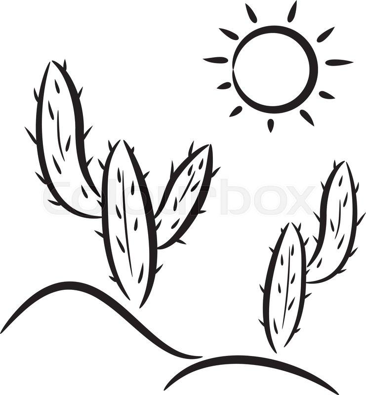 Vector cactus in desert clip.