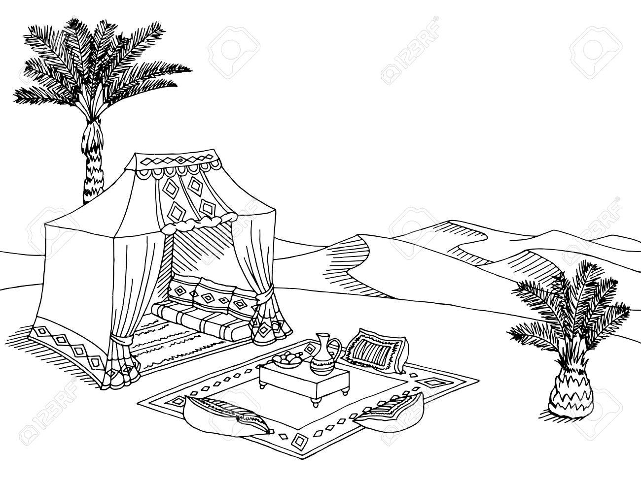 Desert tent graphic black white landscape sketch illustration...