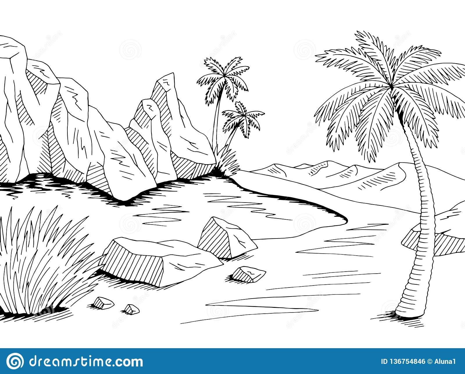 Oasis Desert Graphic Black White Landscape Illustration Vector Stock.