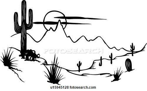 cactus, desert, illustrated panels, mesa, southwest, western, Clip.