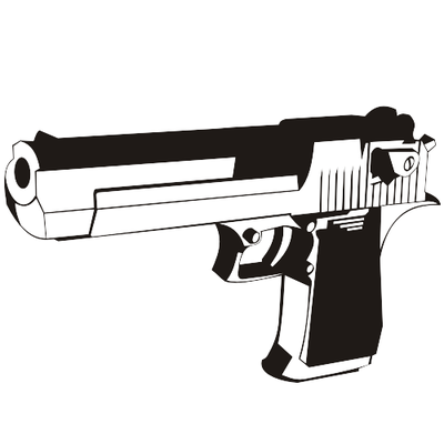 Black & White Desert Eagle Handgun Clipart Picture.