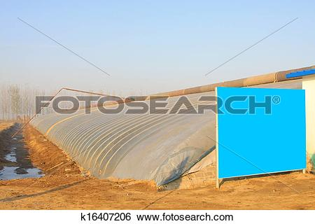 Stock Images of Bulletin board and the vegetable greenhouse.