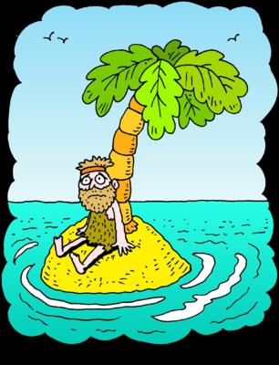 Image: Man sitting on deserted island.