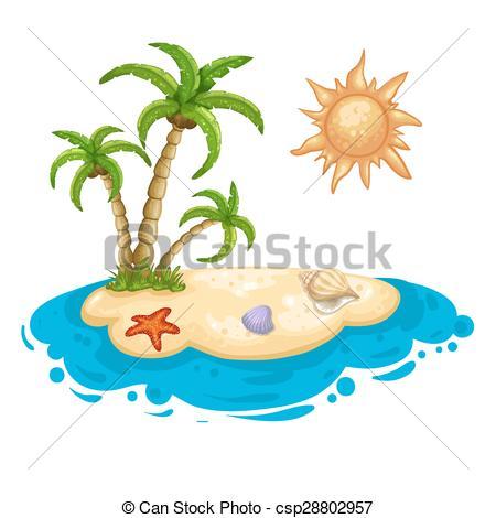Illustration of a desert island.