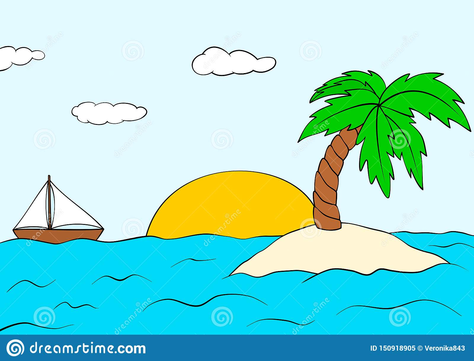 Desert Island With Palm Tree And Ship. Summer Sunset Landscape.