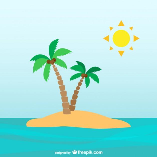 Palm trees on desert island Vector.
