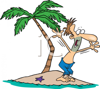 Cartoon of a Guy Yelling for Help on a Desert Island.