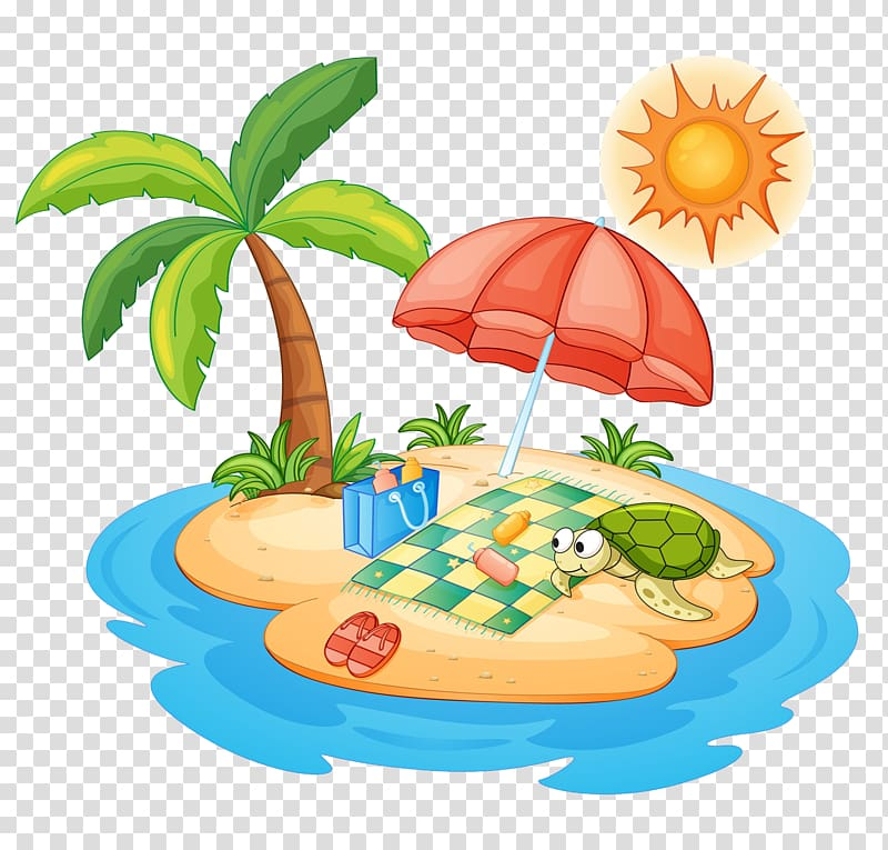 Desert island , Umbrella on Sandy Island transparent background PNG.