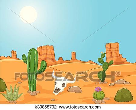 Cartoon desert landscape, wild west Clipart.