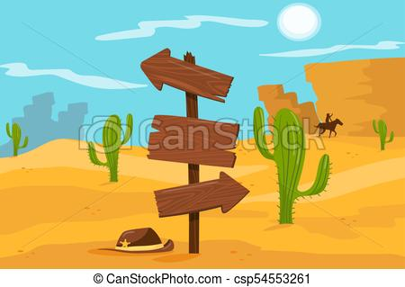 Old wooden road sign standing on desert landscape background vector  Illustration, cartoon style.