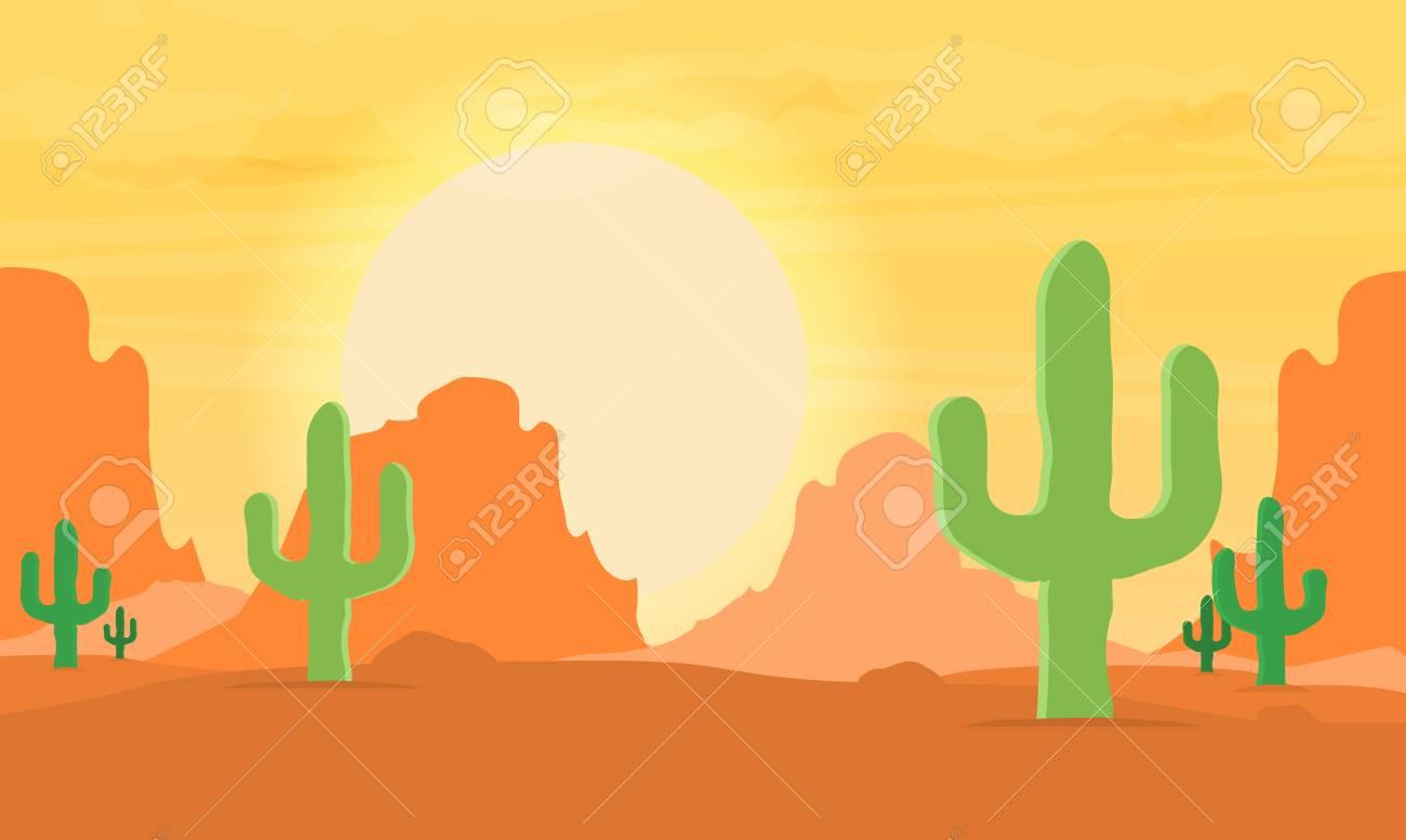 Western desert landscape at sunset vector illustration..