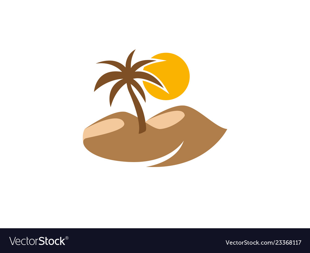 Desert logo palm and sun with sand design.
