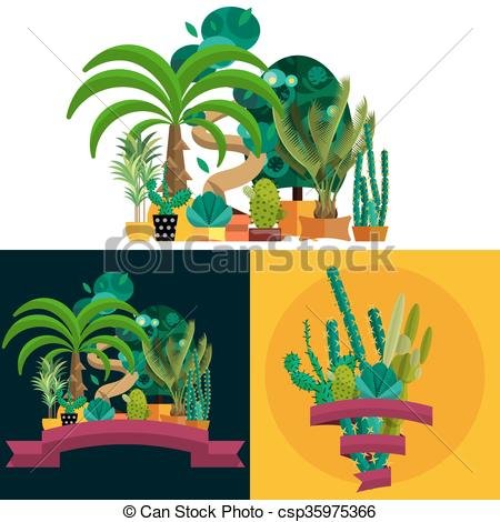Clip Art Vector of Desert plant. Illustration of palm trees on.