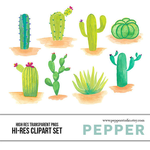 INSTANT DOWNLOAD Desert Cactuses Clipart Set Hi by PepperStudio.