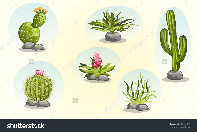 Desert plants clipart.