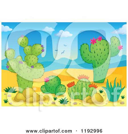 Clipart of a Cartoon Desert Prickly Pear Cactus Plant.