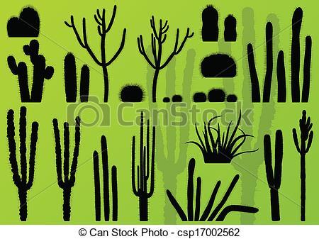 Clip Art Vector of Desert cactus plants wild nature landscape.