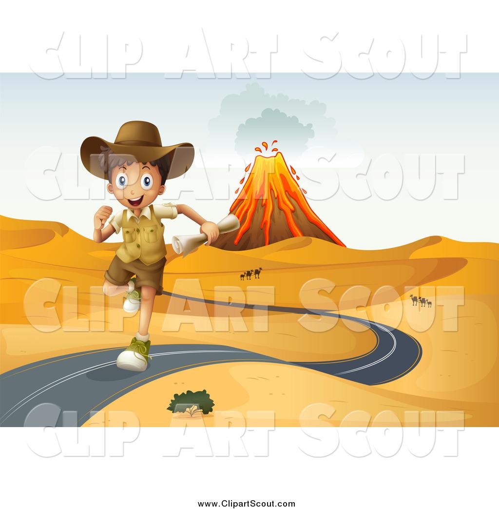 Clipart of an Explorer Boy Running on a Desert Road, with a.