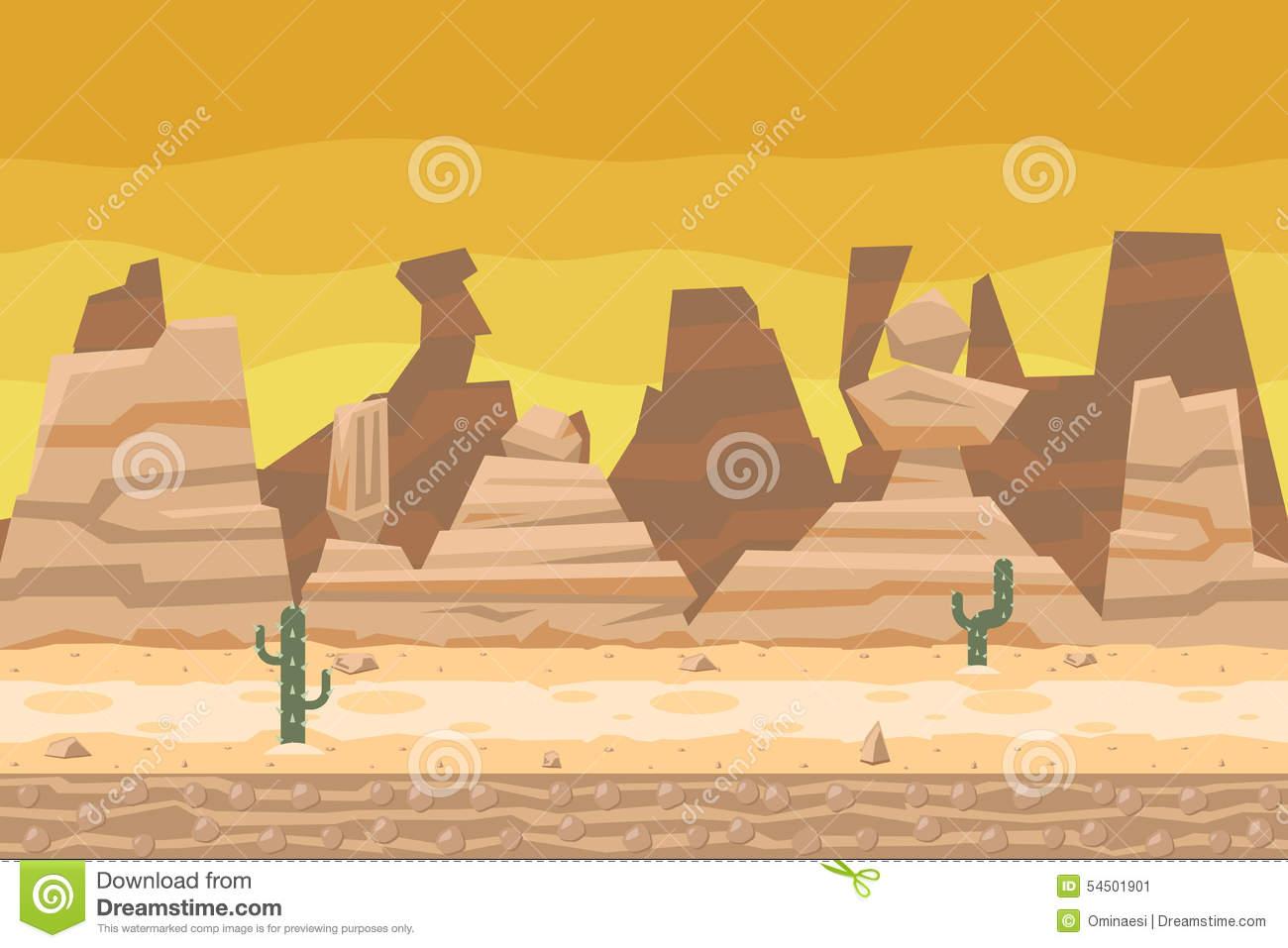 Seamless Desert Road Cactus Nature Concept Flat Stock Vector.