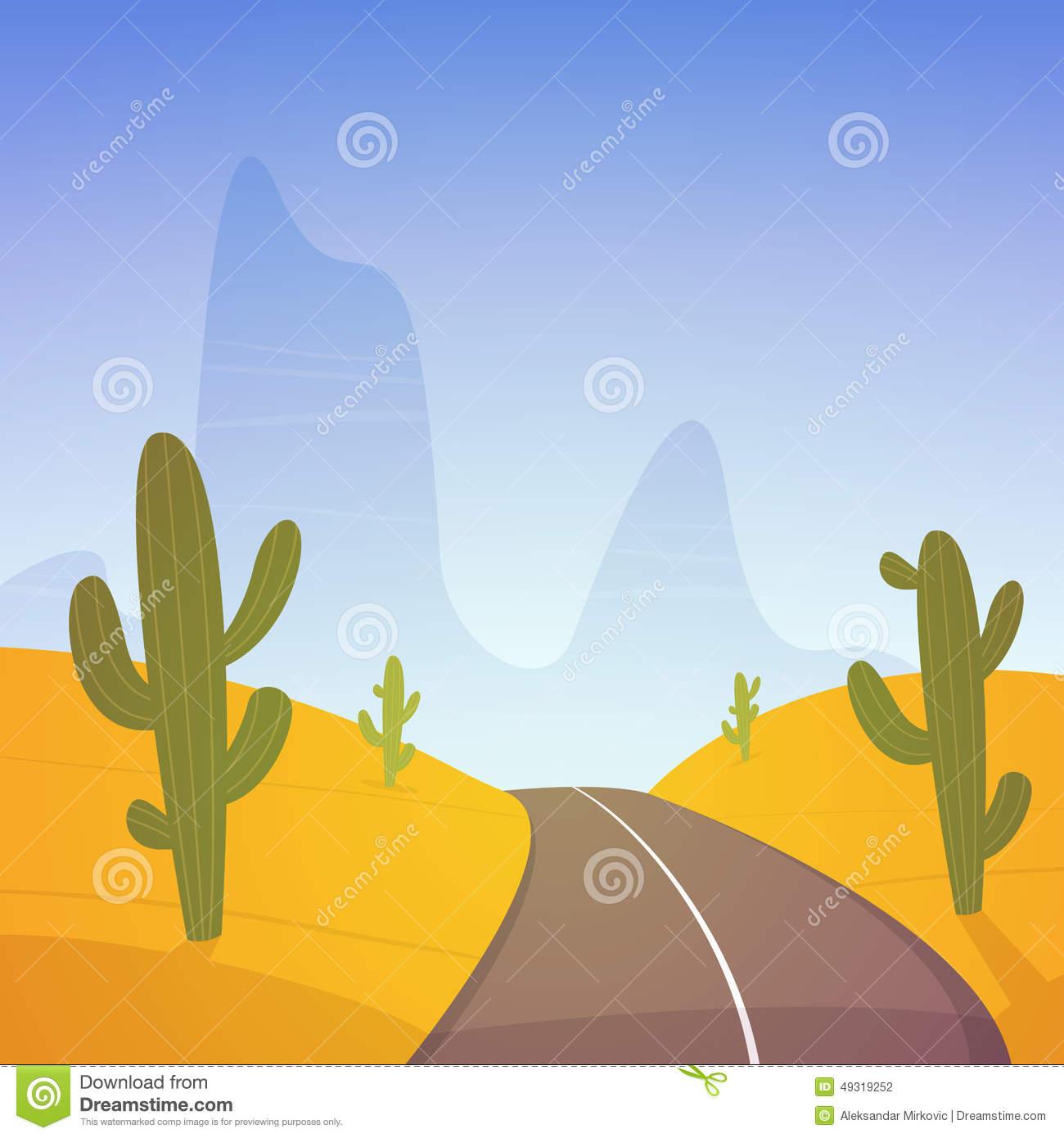 Desert Road Stock Vector.