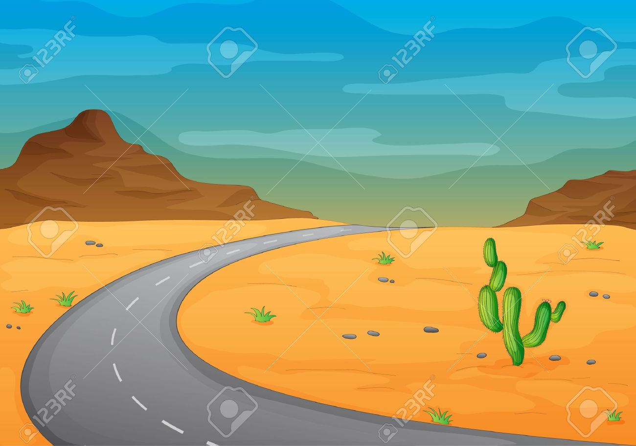 Illustration Of A Road In A Desert Royalty Free Cliparts, Vectors.