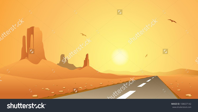 A Desert Landscape With Road, Highway Stock Vector Illustration.