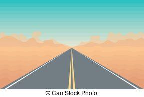 Long Desert Road Clip Art.