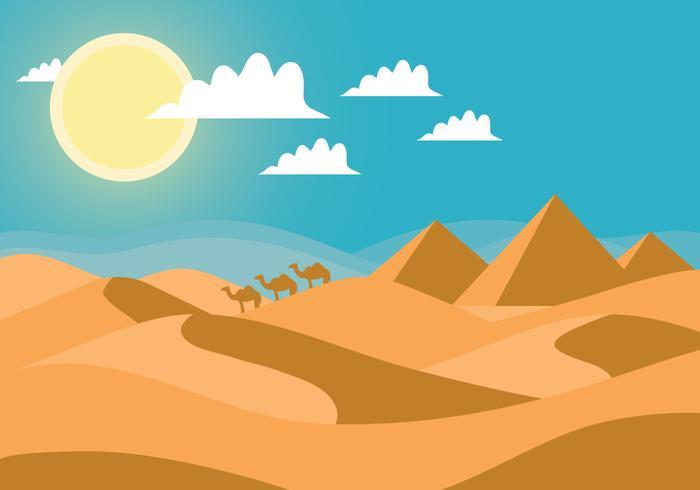 Desert landscape vector.