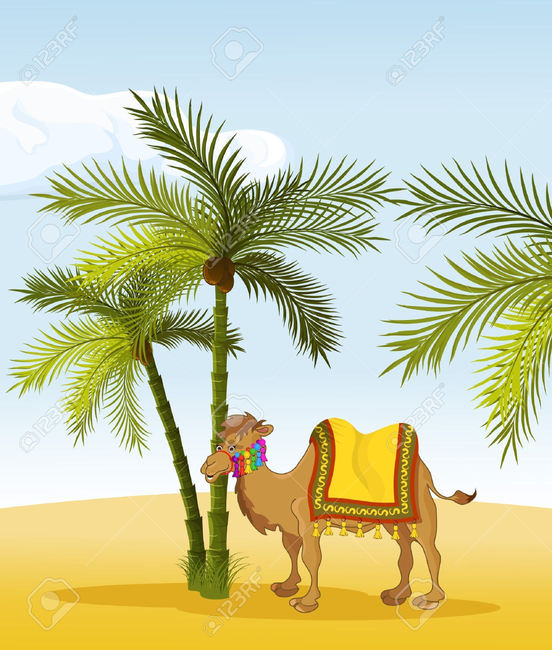 Desert with palm tree clipart.