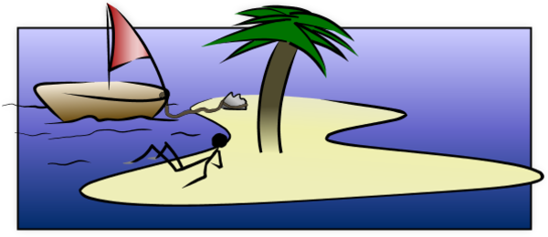 Island Desert Boat Ship Palm Tree Sea Ocean.
