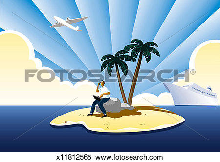 Stock Illustration of Man on desert island with cellular phone and.