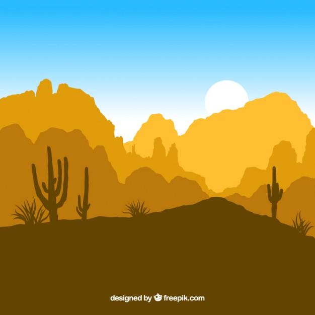 Desert silhouettes Vector.