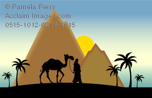 Clip Art Image of a Silhouette of a Man Walking a Camel in the.