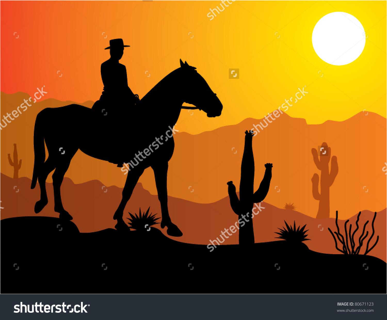 Vector Man On Horse Desert Sunrise Stock Vector 80671123.