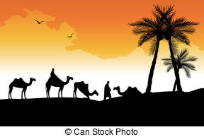 Vector Clipart of Camel caravan in the desert csp4612850.