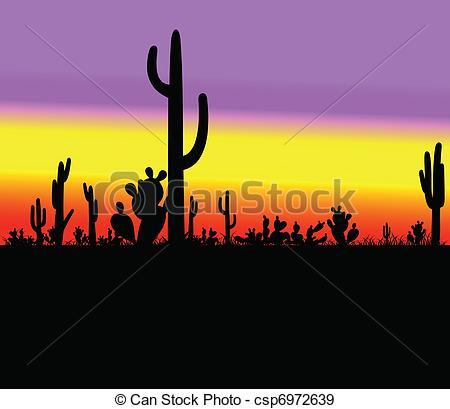 Cactus Silhouette In Desert.