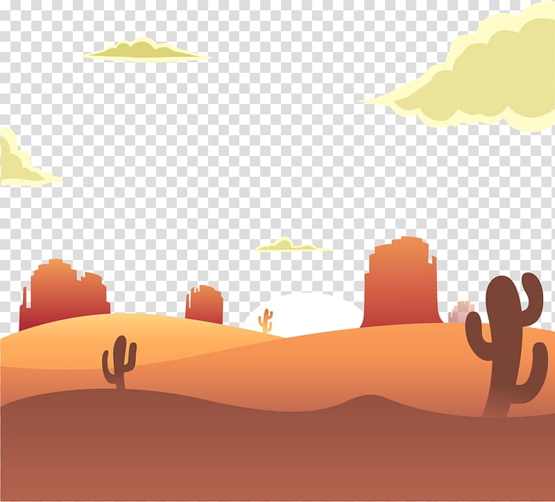 Desert with cacti under yellow clouds and blue sky , Sunrise.