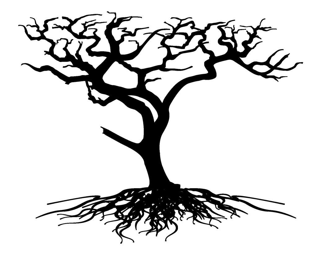 Desert tree clipart black and white.