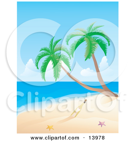 Romantic Couple Watching the Sunset on a Tropical Beach Clipart.