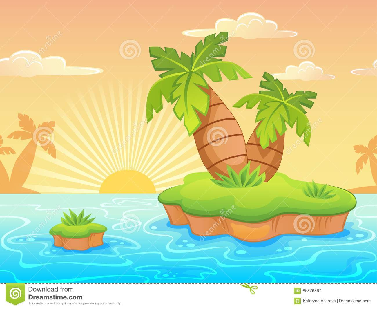 Seamless Landscape With Cartoon Deserted Beach And Palm Trees.