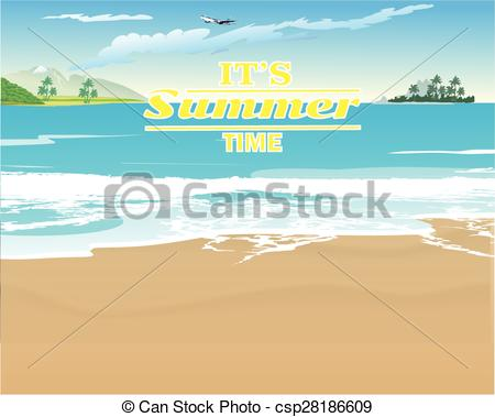 Vector Clipart of Deserted beach with the surf and the island on.
