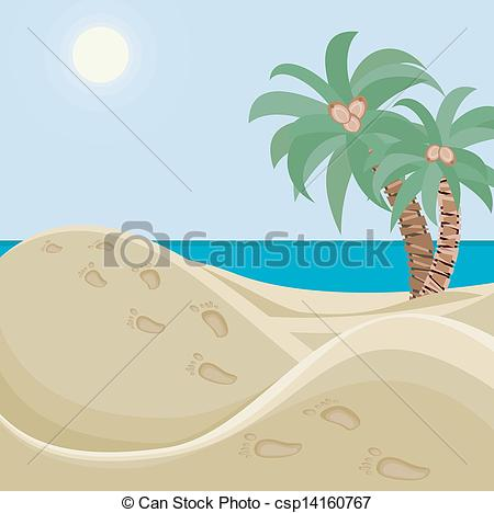 Clip Art Vector of Deserted beach.