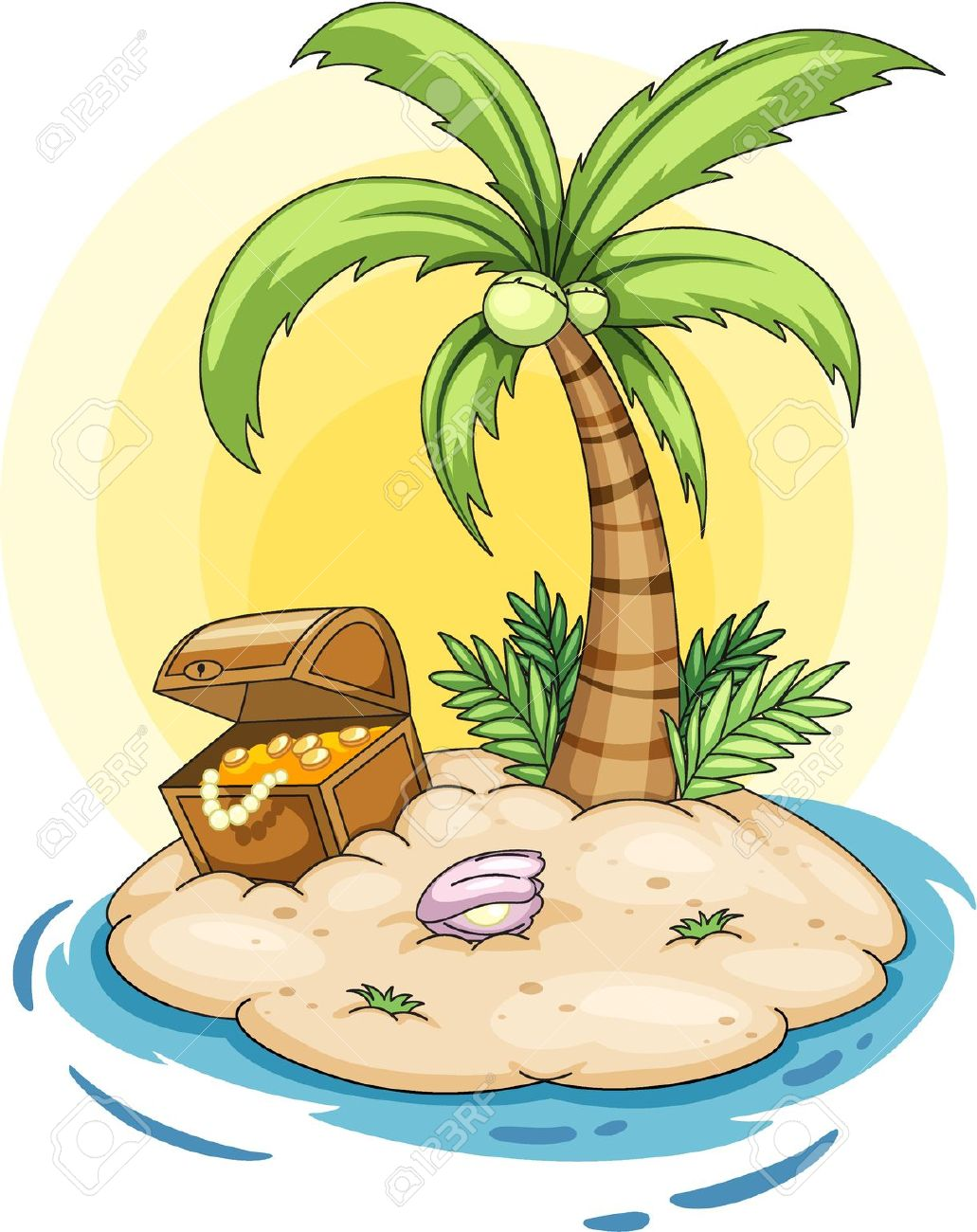 Illustration Of A Deserted Island Royalty Free Cliparts, Vectors.