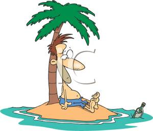 Man on deserted island clipart.